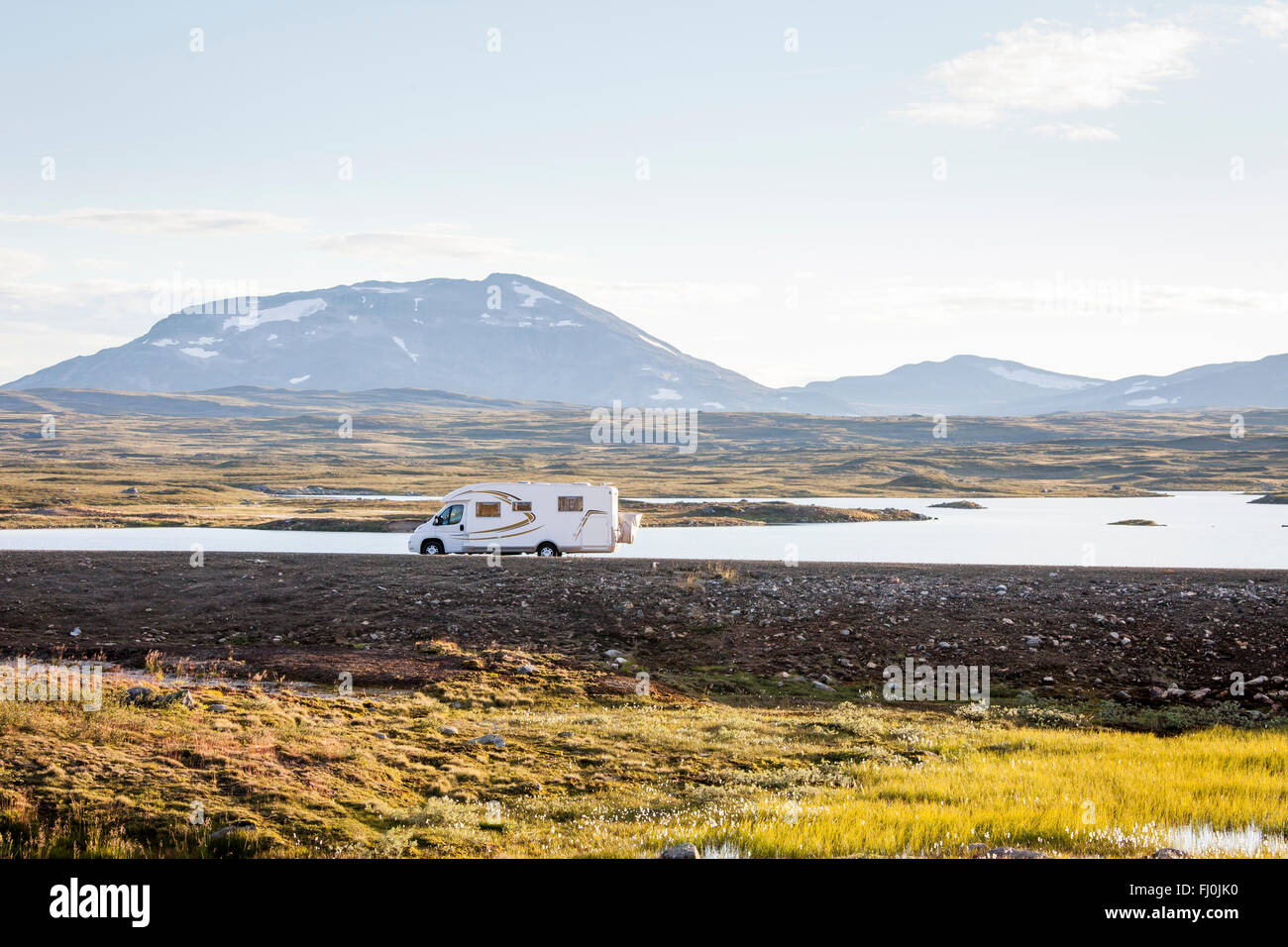 Picture of a motor home, RV, in the wilderness of Swedish Lapland. - Stock Image