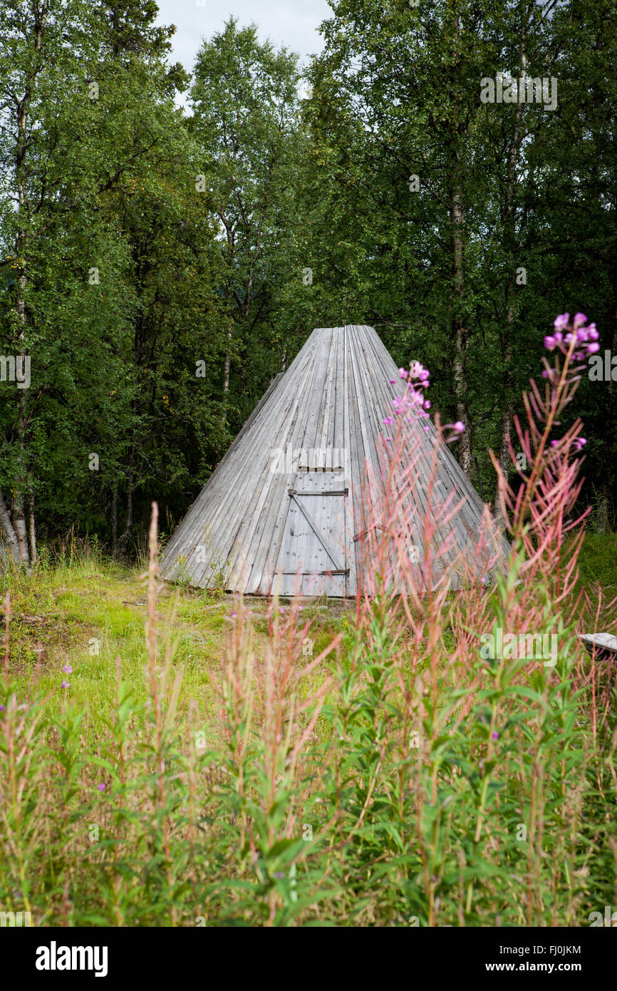 Picture of Sami buildings in Sapmi, Swedish Lapland - Stock Image