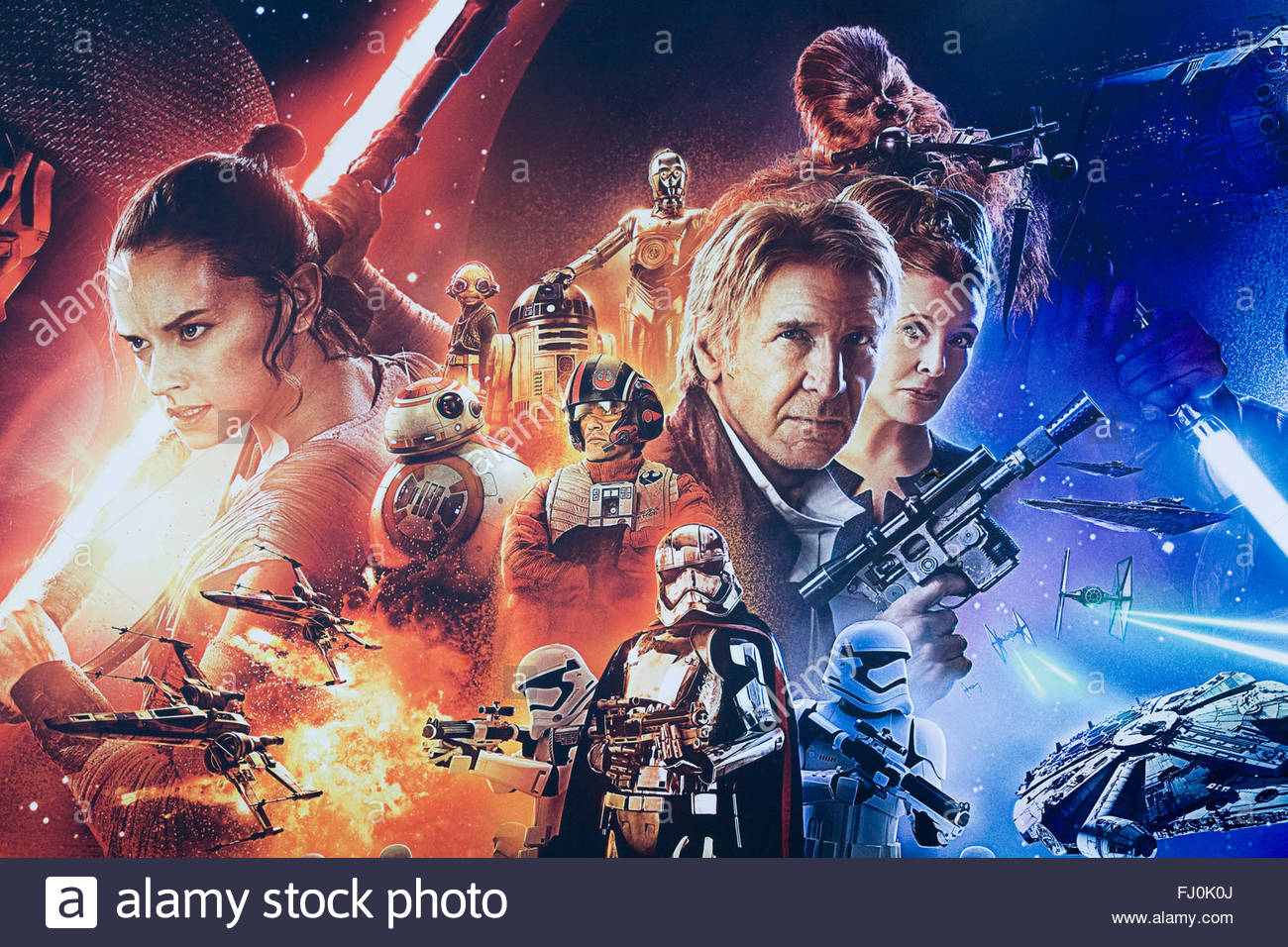 Poster advertising the New star wars movie 'The Force Awakens' for the European Premiere in London - Stock Image