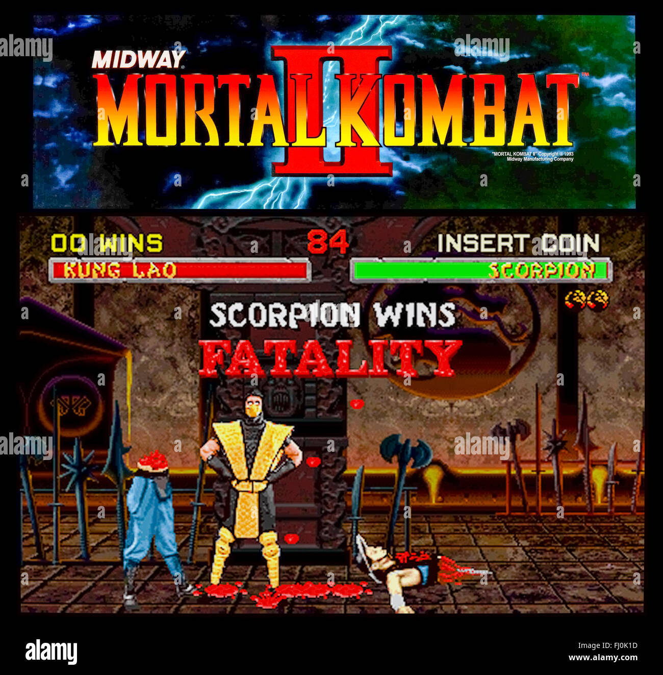 'Mortal Kombat II' released in 1993 by Midway Games, this sequel to the original Mortal Kombat introduced - Stock Image