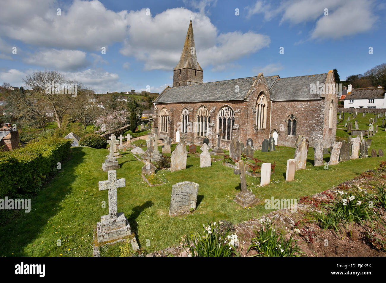 Slapton; Church; Devon; UK - Stock Image