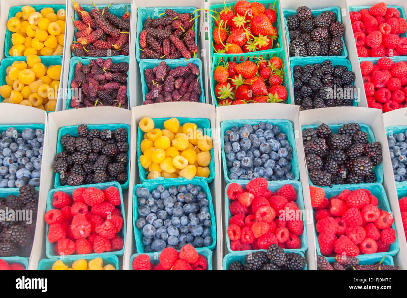 Farmers market - close up of berries in pint containers at a local farm stand / farmer's market in Santa Monica - Stock Image
