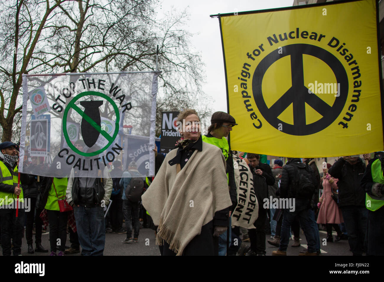 London, England. 27 Feb 2016 Kate Hudson, General Secretary of the Campaign for Nuclear Disarmament (CND) and an - Stock Image