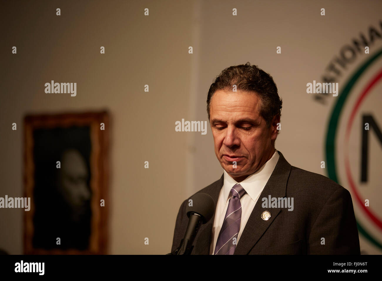 New York Governor Andrew Cuomo, speaks at the 2016 Martin Luther King Jr day celebration at the NAN House of Justice - Stock Image