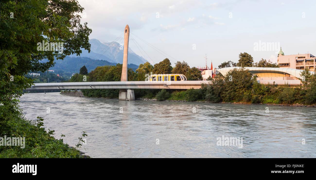 Austria, Tyrol, Innsbruck, Hungerburg railway on bridge, Inn river - Stock Image