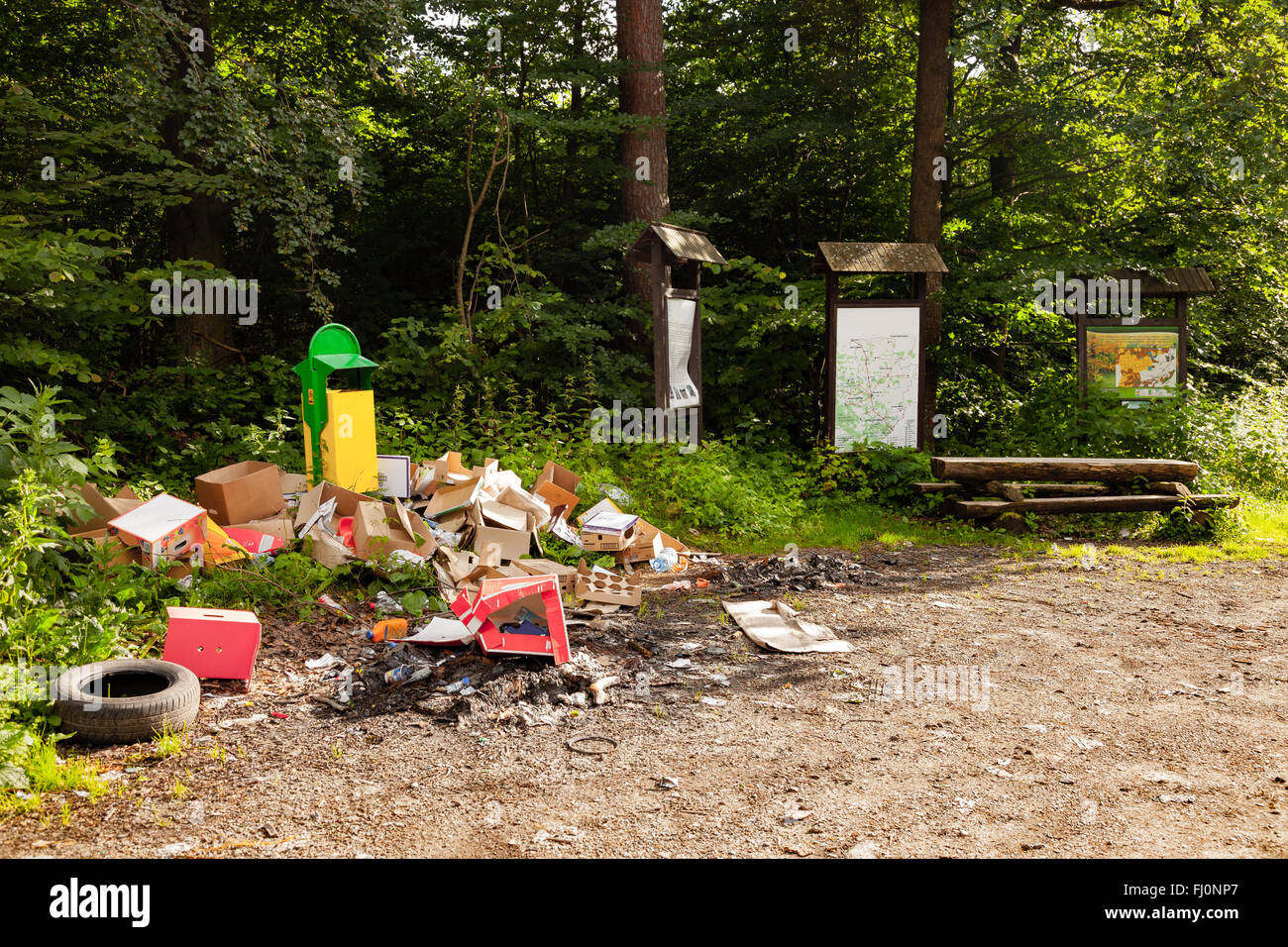 Illegal dump in forest - environment pollution. - Stock Image