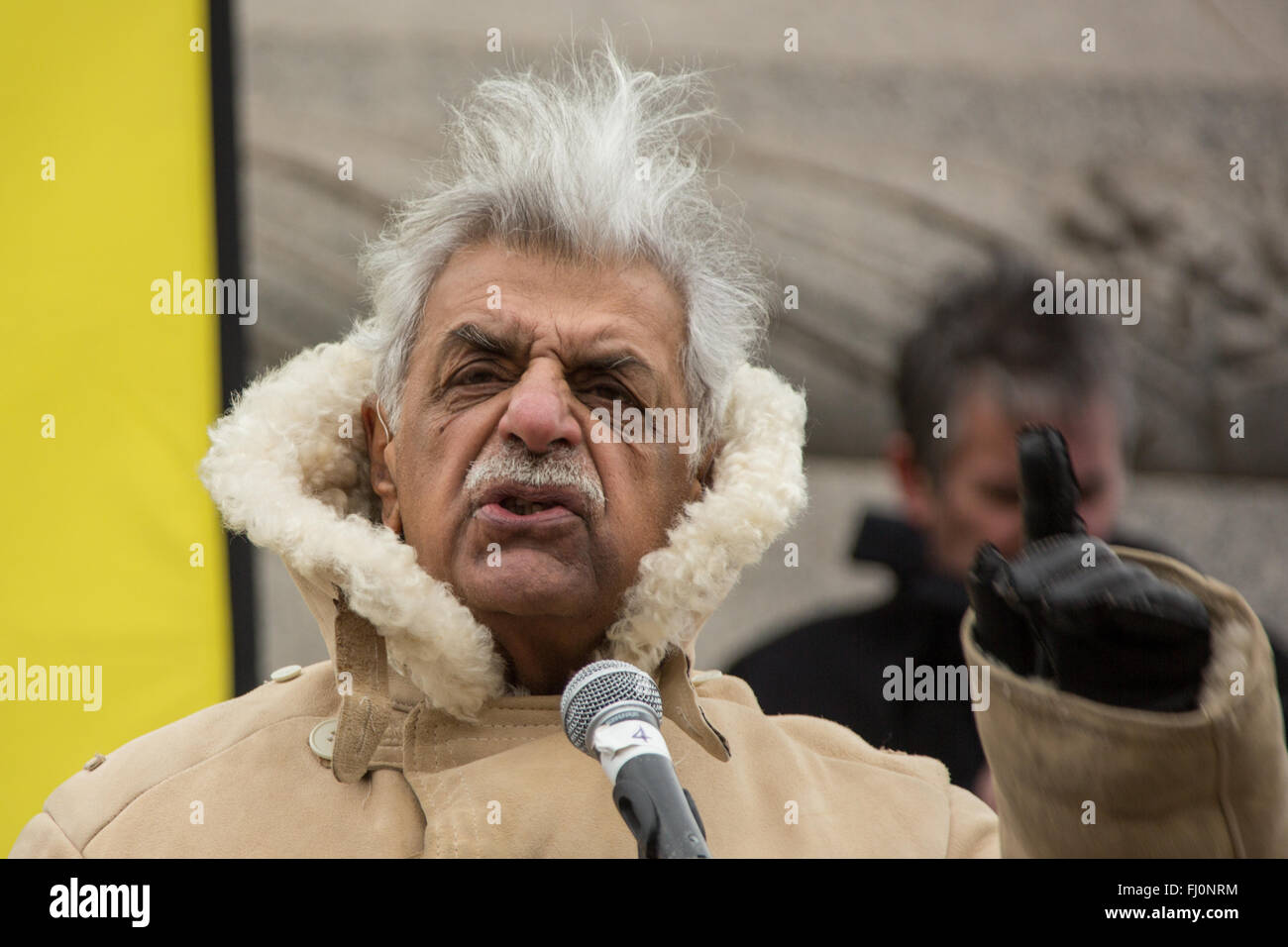 London, England. 27 Feb 2016. Tariq Ali, writer and journalist addresses the rally in Trafalgar Square after thousands - Stock Image