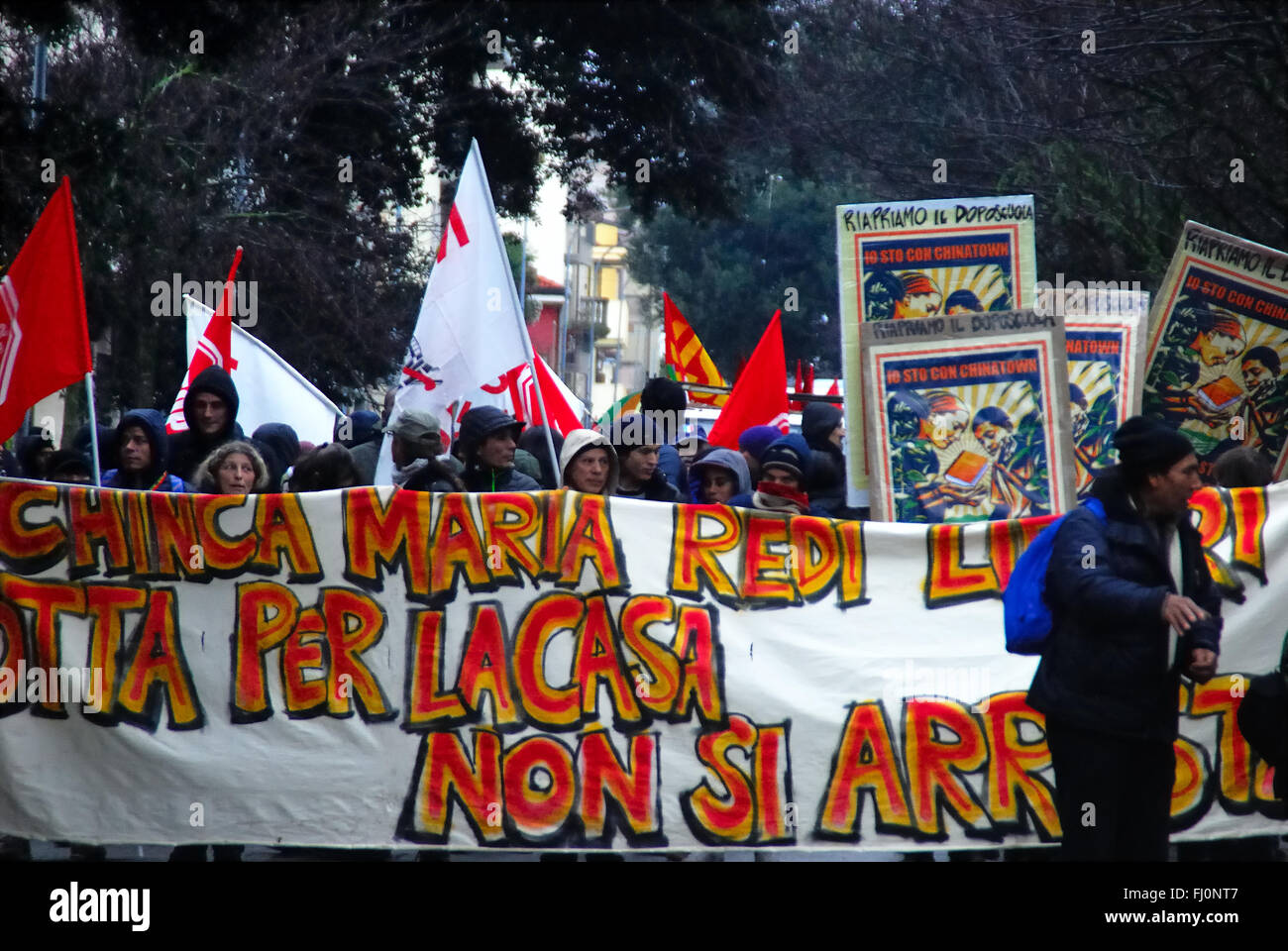 Padua, Italy, February 27th, 2016. Demonstration for council housing. Hundreds of people march against evictions, - Stock Image