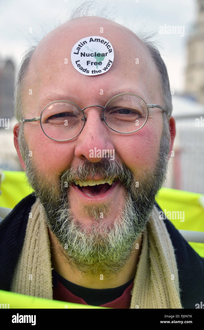 London, UK, 27 February 2016, CND Campaign for Nuclear Disarmament Stop Trident March ends at Trafalar Square. This - Stock Image