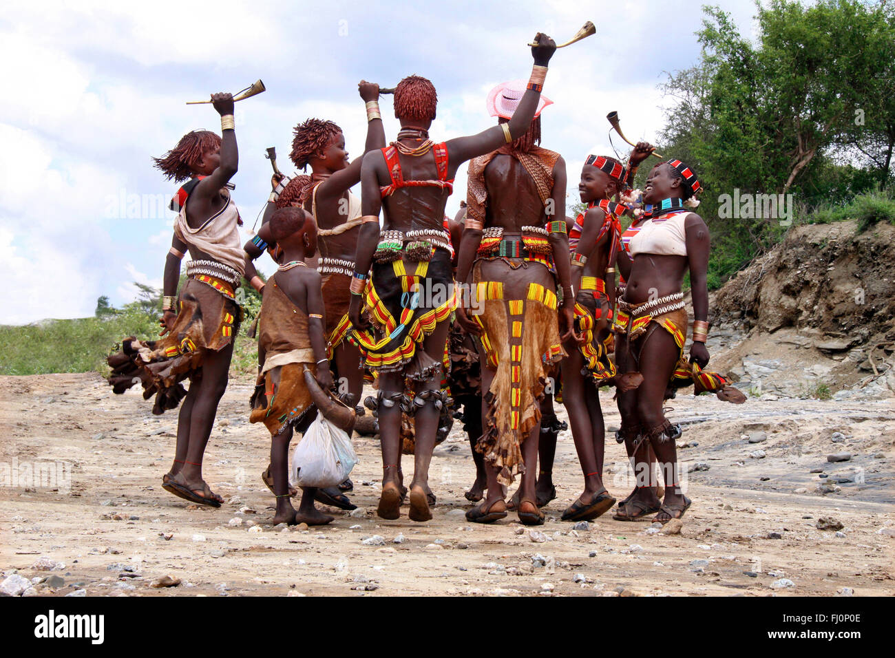 Hamer women are dancing during celebrations by the Hamer tribes in Ethiopia, Omo valley - Stock Image
