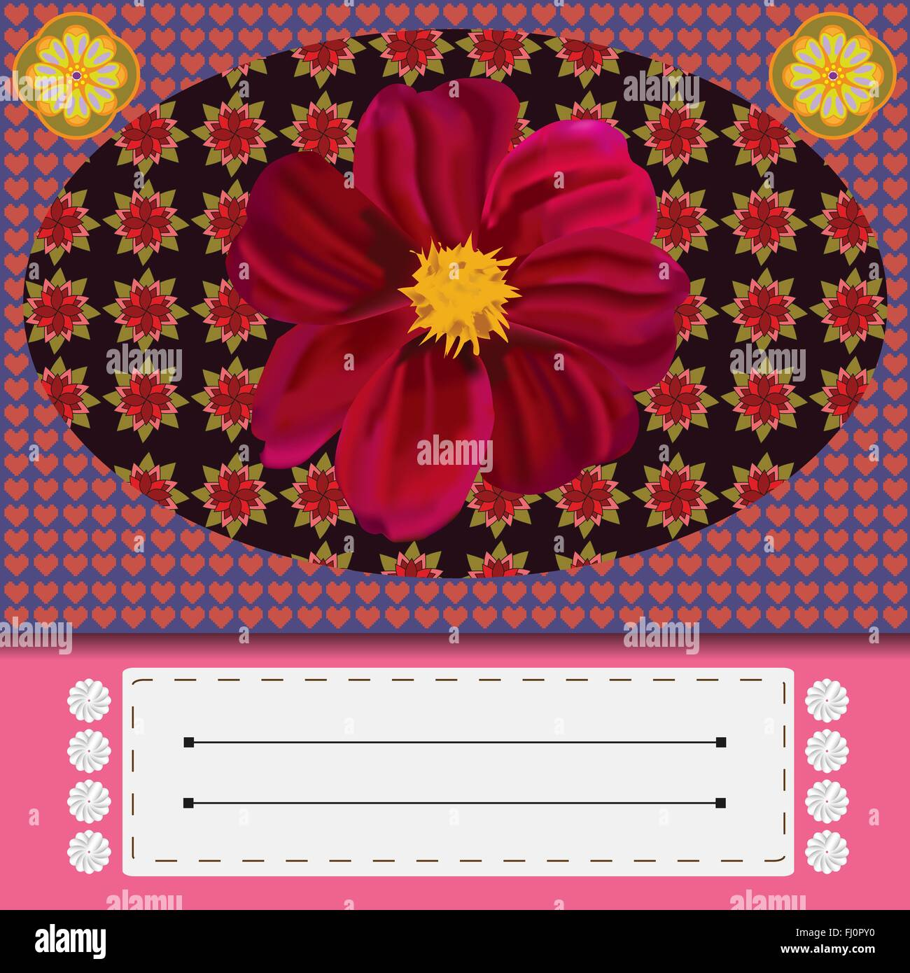 Pink flowers yellow center stock vector images alamy invitation greeting card with big pink flower in the center digital background vector illustration mightylinksfo