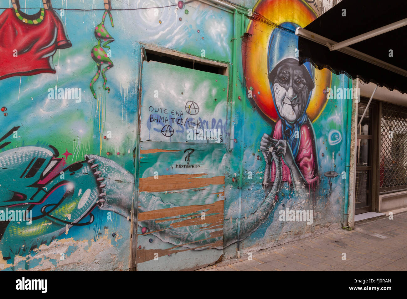 Nicosia, Cyprus - 18 February, 2016:  Beautiful Street Art on Pythonos Street in the Old Nicosia city center. - Stock Image