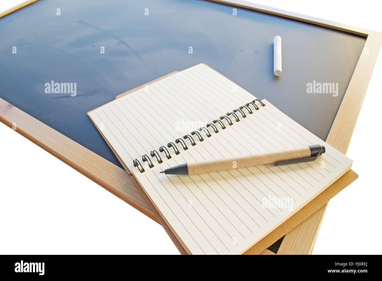 diaries and chalk on a blackboard - Stock Image