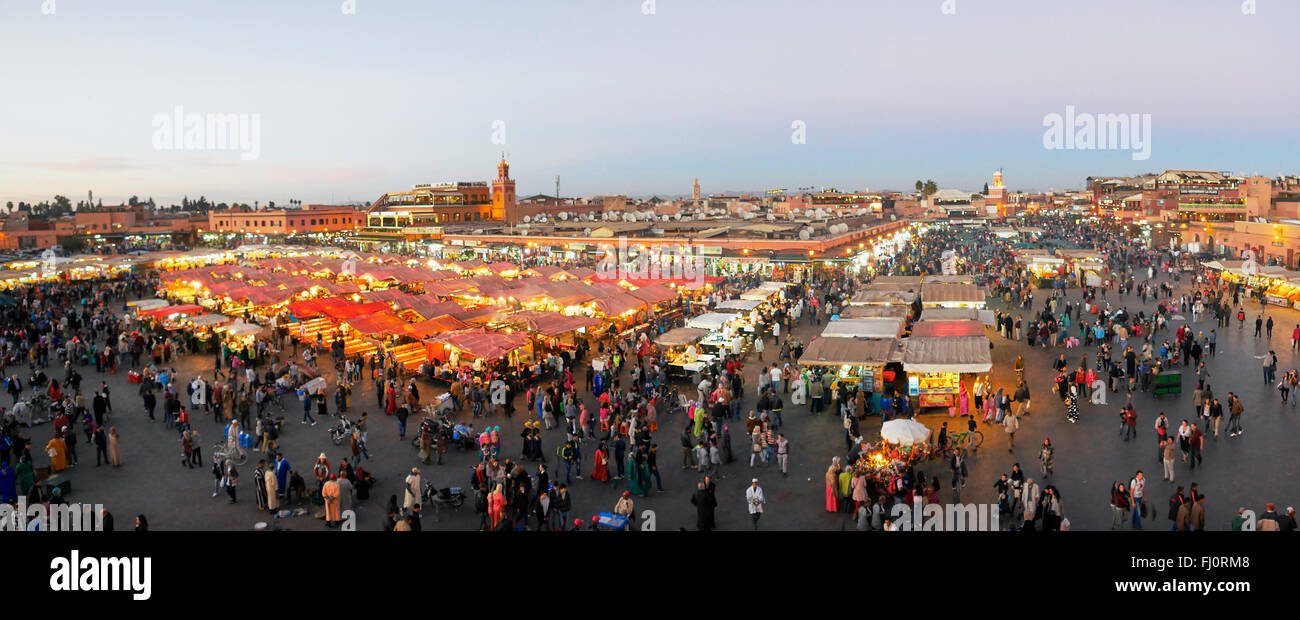 Panoramic  of the 'jeema el fnaa'  at night Stock Photo