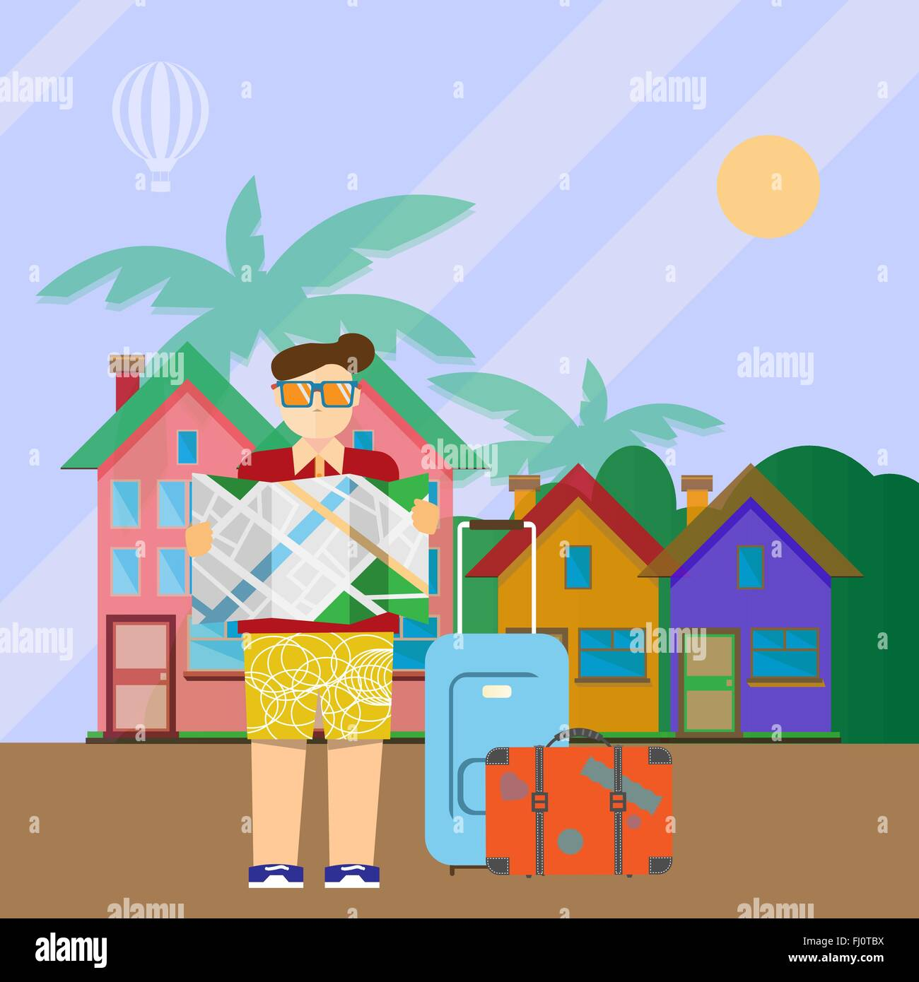Tourist with map and suitcases and hotel houses in the backdrop. Travel digital vector background colorful illustration. - Stock Image