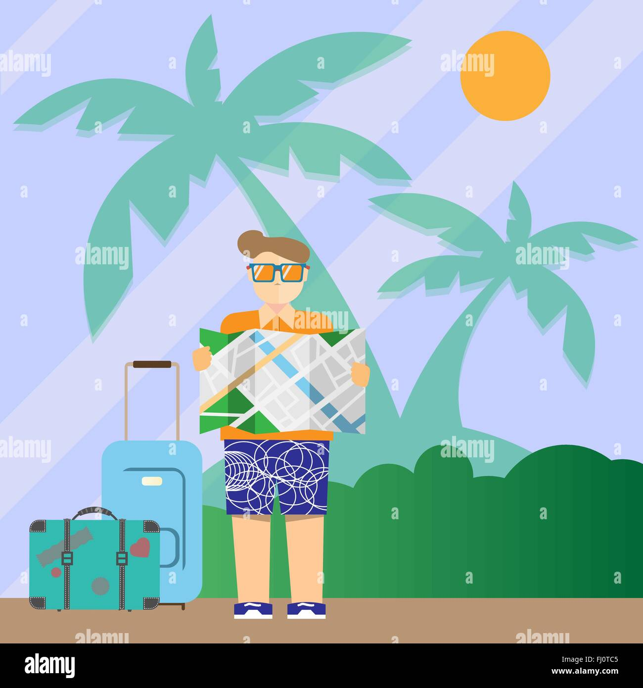 Tourist with map and suitcases. Travel digital vector background colorful illustration. Last minute deal leaflet. - Stock Image