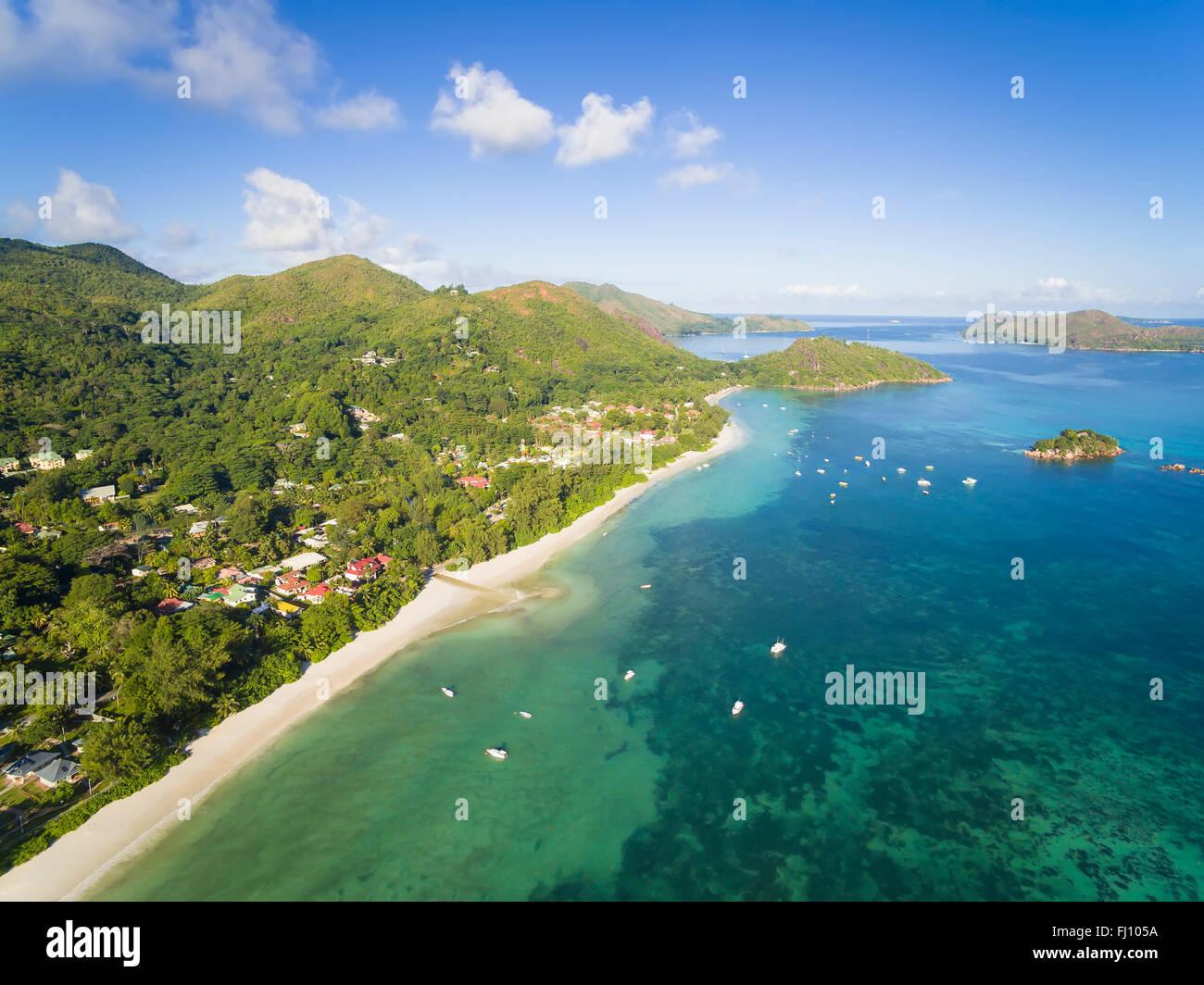 Seychelles, Praslin, Anse Volbert, Anse Volbert Village, Chauve Souris Island and Curieuse Island, aerial shot Stock Photo