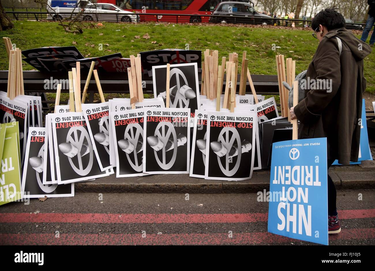 CND Anti Trident Protest rally, London, UK. Placards - Stock Image