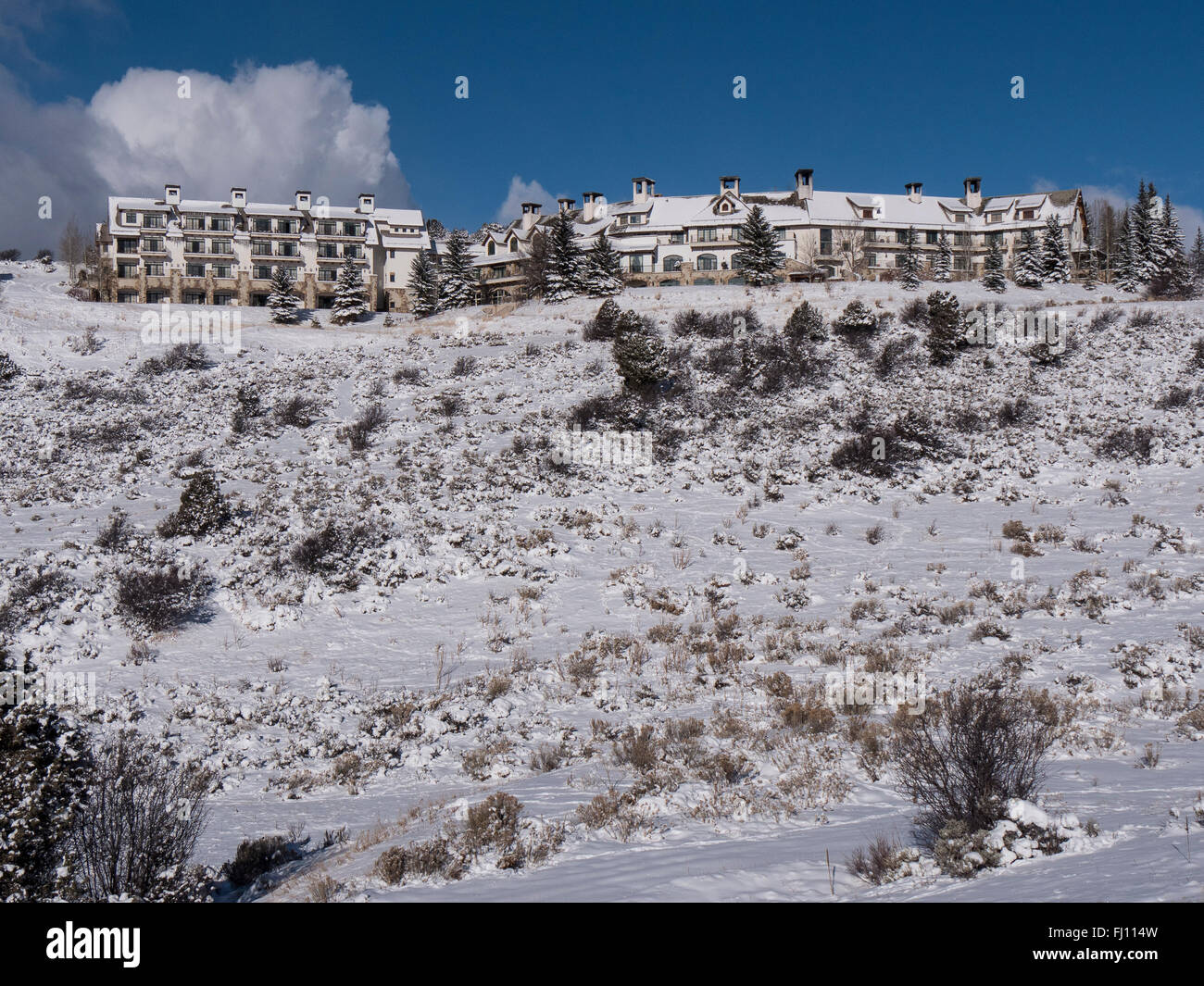 Winter, Lodge and Spa at Cordillera, Edwards, Colorado. - Stock Image