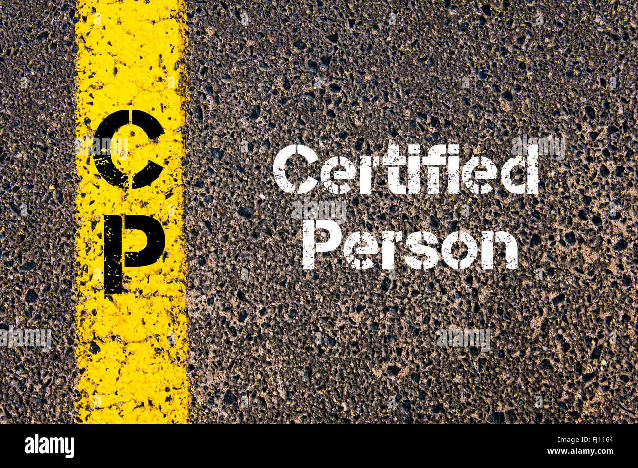 Concept image of Business Acronym CP Certified Person written over road marking yellow paint line - Stock Image