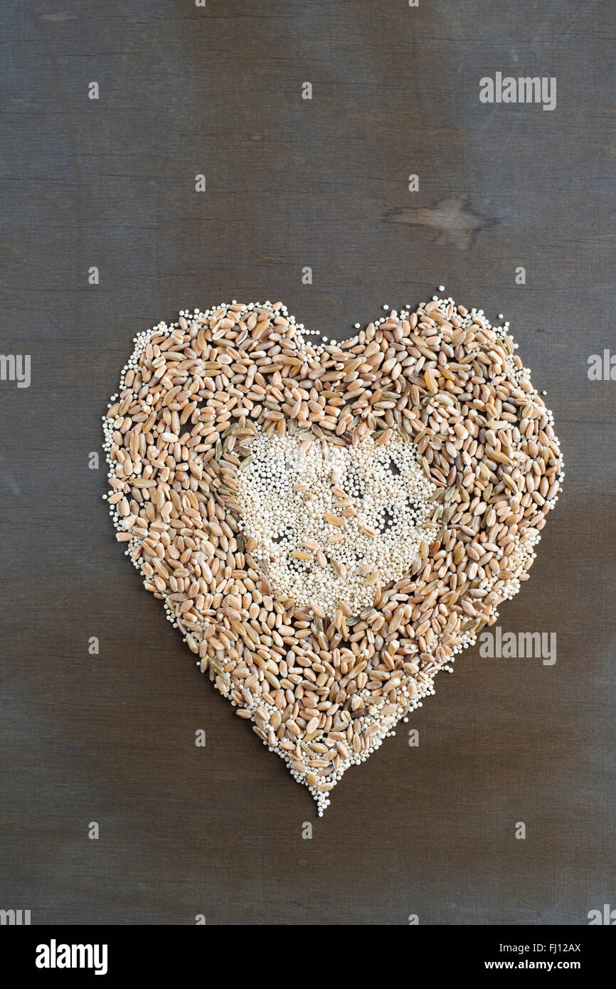 Different grains building a heart - Stock Image