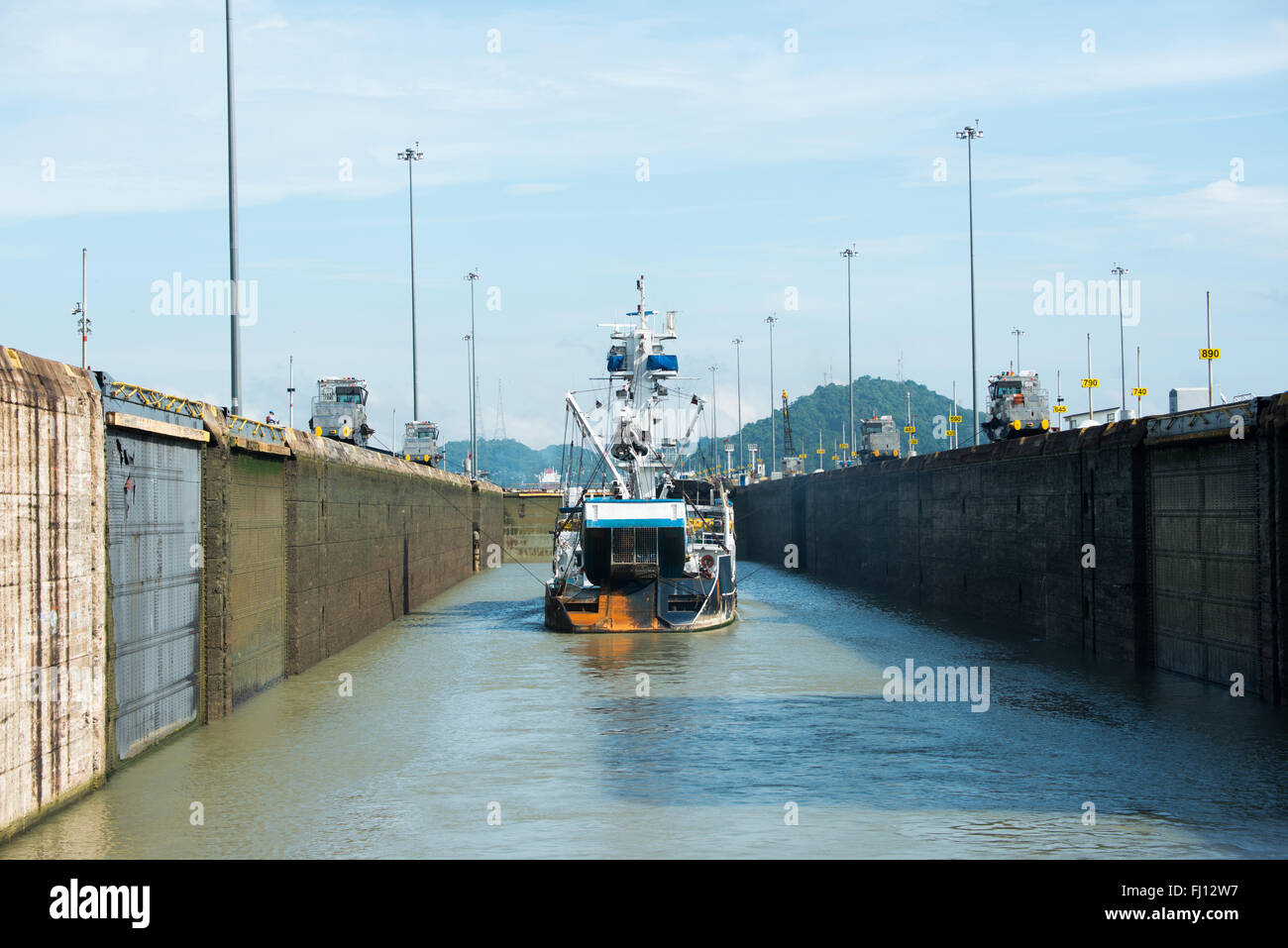 PANAMA CANAL, Panama--Inside the Miraflores Locks on the southern end of the Panama Canal. Opened in 1914, the Panama - Stock Image