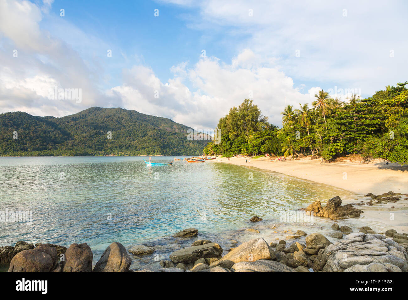Koh Lipe sunset beach is a relax beach on the popular island in the Andaman sea in south Thailand, very close to - Stock Image