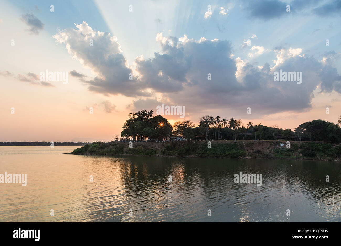 Stunning sunset over the Mekong river in Pakse in Champasak province in south Laos. Stock Photo