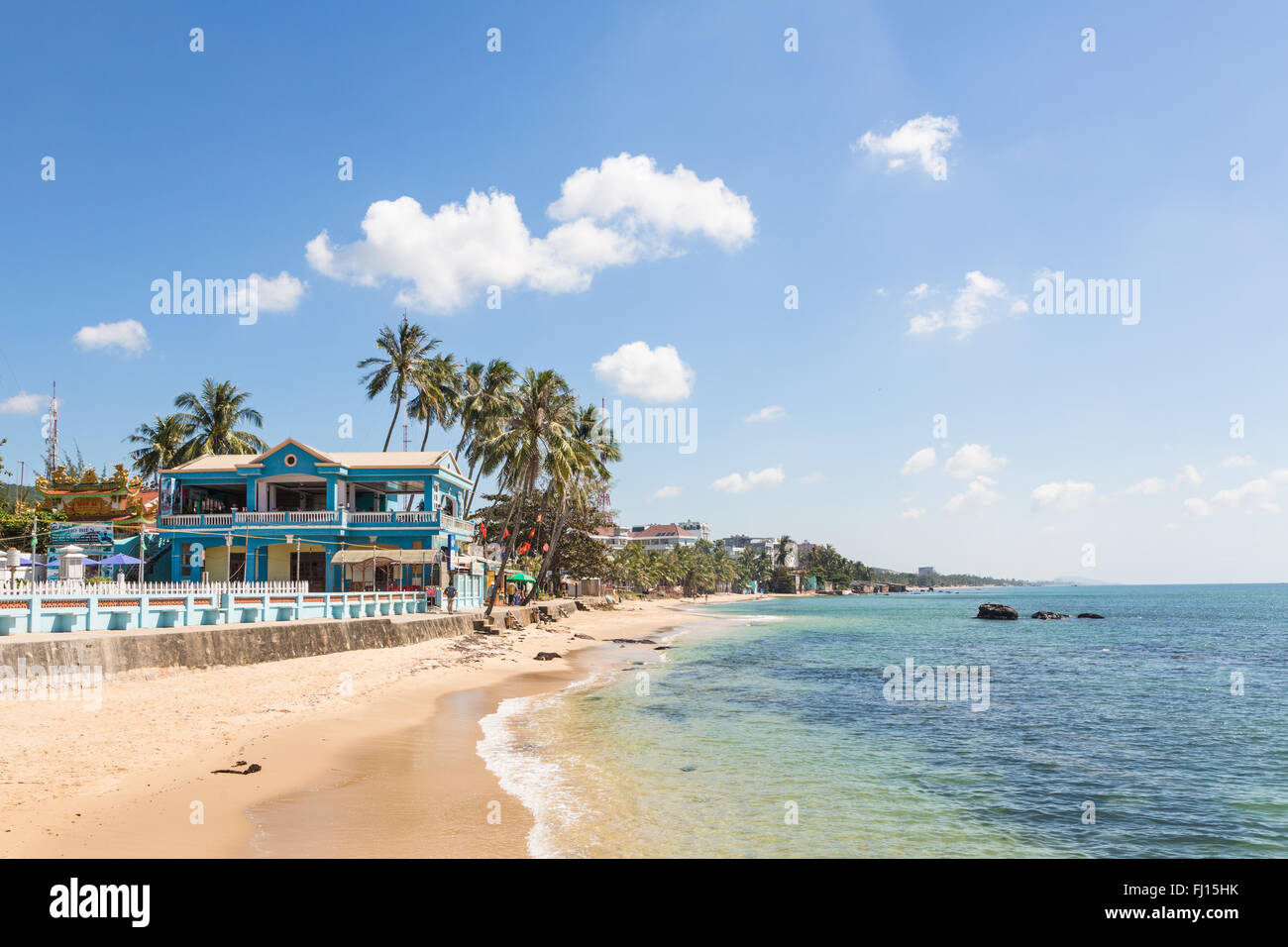 The beach in Duong Dong town in the popular Phu Quoc island in south Vietnam - Stock Image
