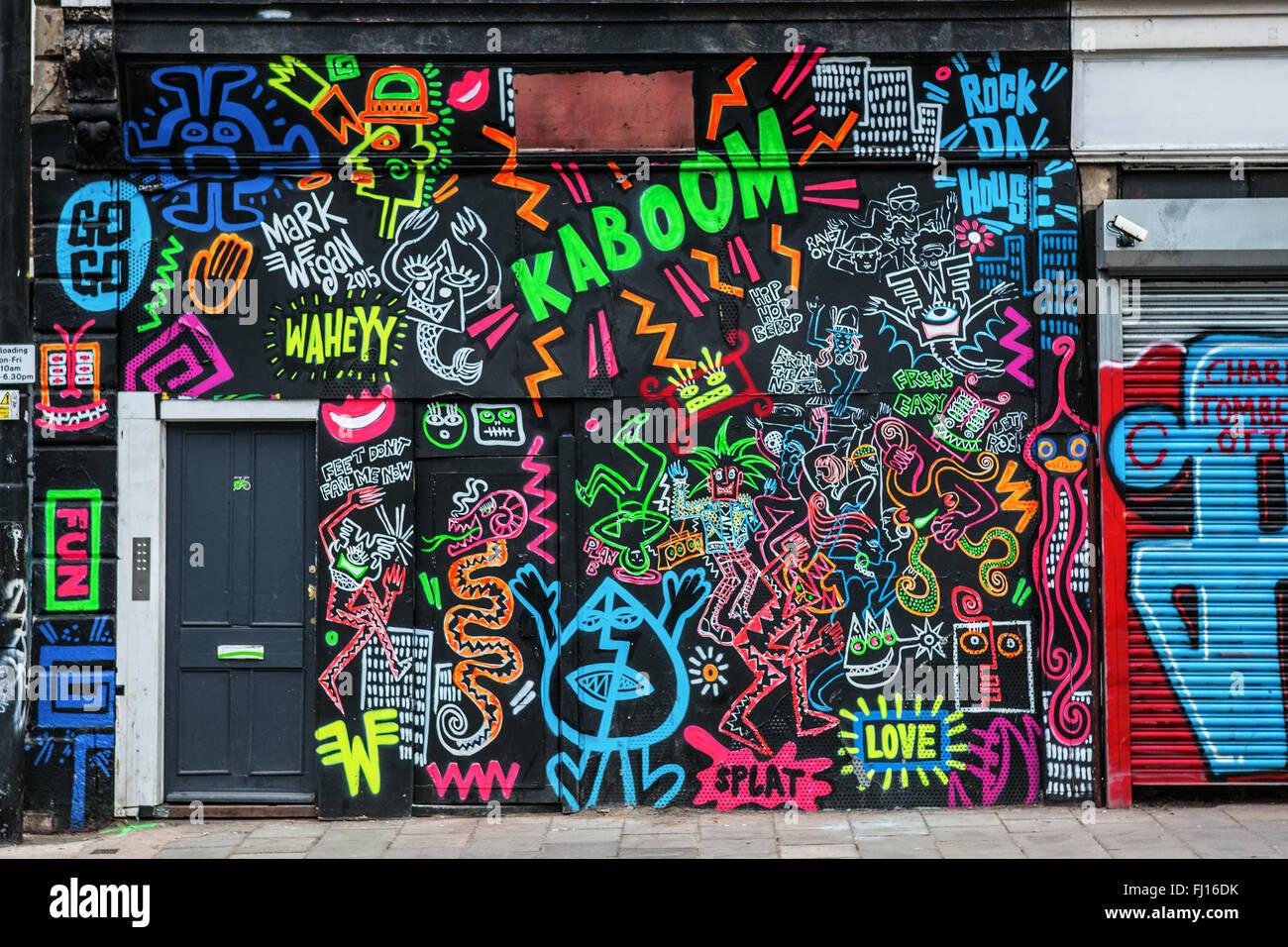 Colourful graffiti wall in Bristol - Stock Image
