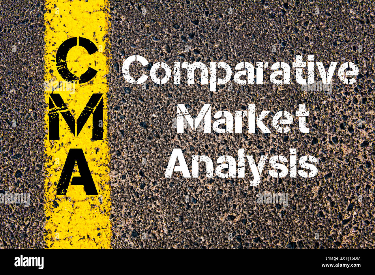 Concept image of Business Acronym CMA Comparative Market Analysis written over road marking yellow paint line - Stock Image