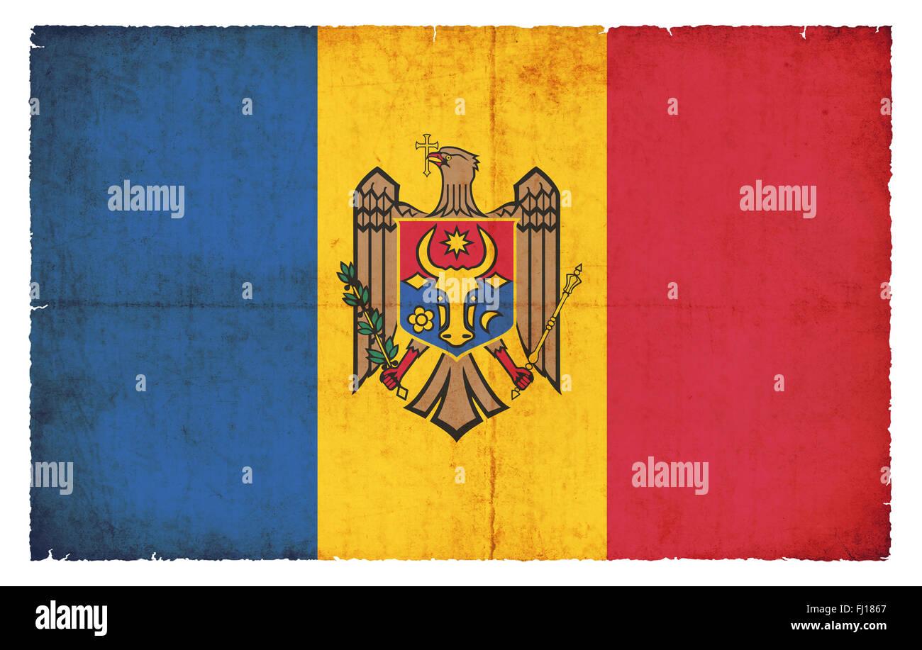 National Flag of Moldova created in grunge style - Stock Image