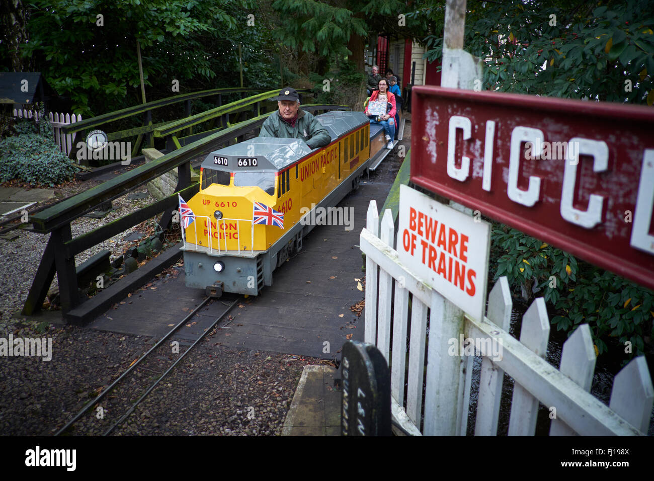 Poynton Brookside agreed centre miniature railway in Cheshire   family attraction fun Travel Travellers Traveling - Stock Image