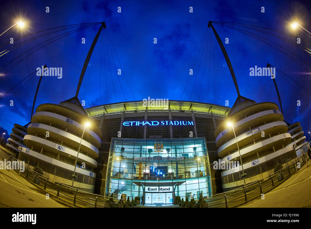 The City of Manchester Stadium in Manchester, England, also known as Etihad Stadium for sponsorship reasons, is Stock Photo