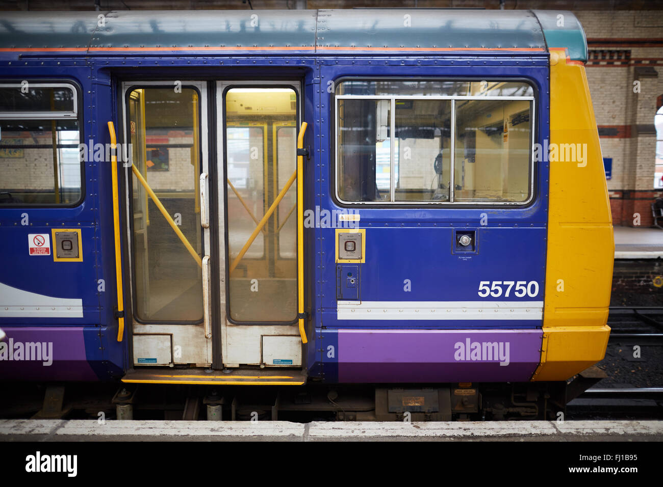 Norther Rail class 142 Pacer at Manchester Piccadilly station   Transport transporter transportation transported - Stock Image