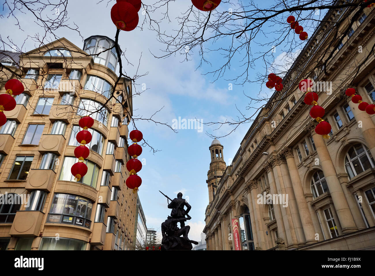 Manchester St Anns Square saint   Chinese paper lantern red hanging sand stone buildings copyspace     GB UK Great - Stock Image