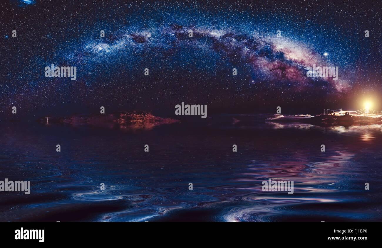 milky-way in night sky - Stock Image