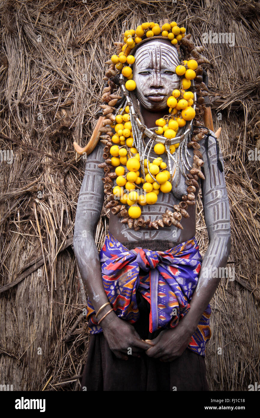 Portrait of a Mursi tribe women in Omo valley, Ethiopia Stock Photo