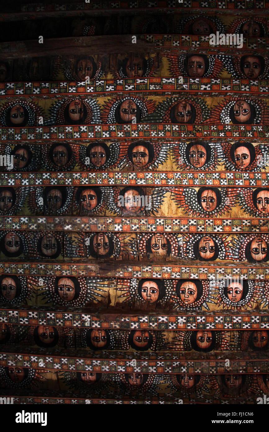 Painting on the roof of Debre Berhan Selassie church, Gonder , Ethiopia - Stock Image