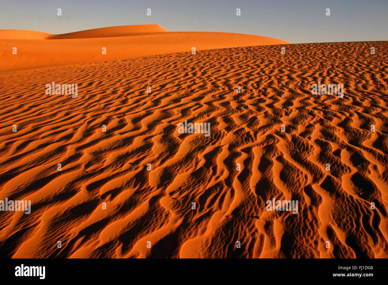 Chinguetti : landscape near city, desert with golden orange sands , Mauritania - Stock Image