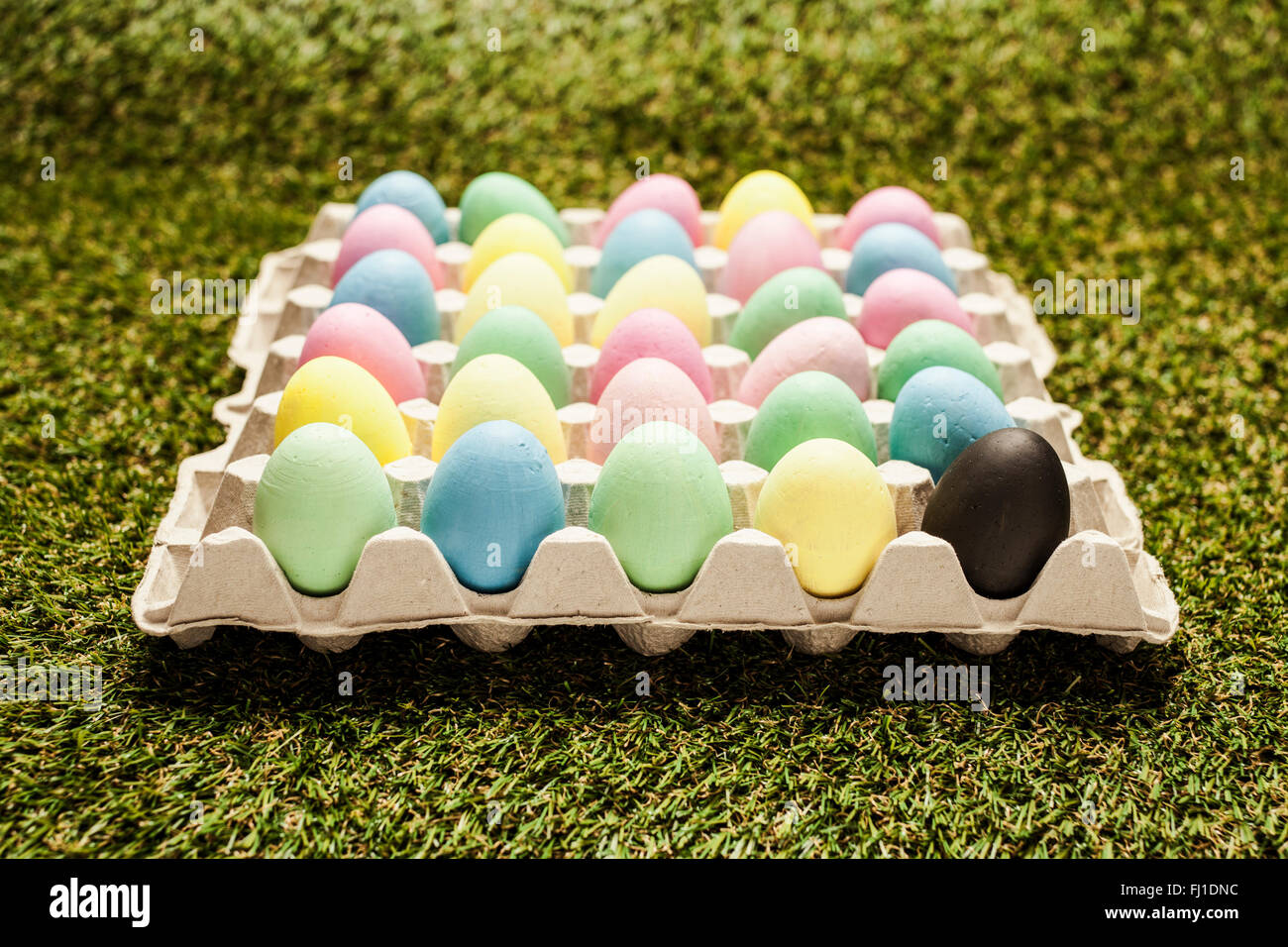 colored easter eggs in carton with one black egg - Stock Image