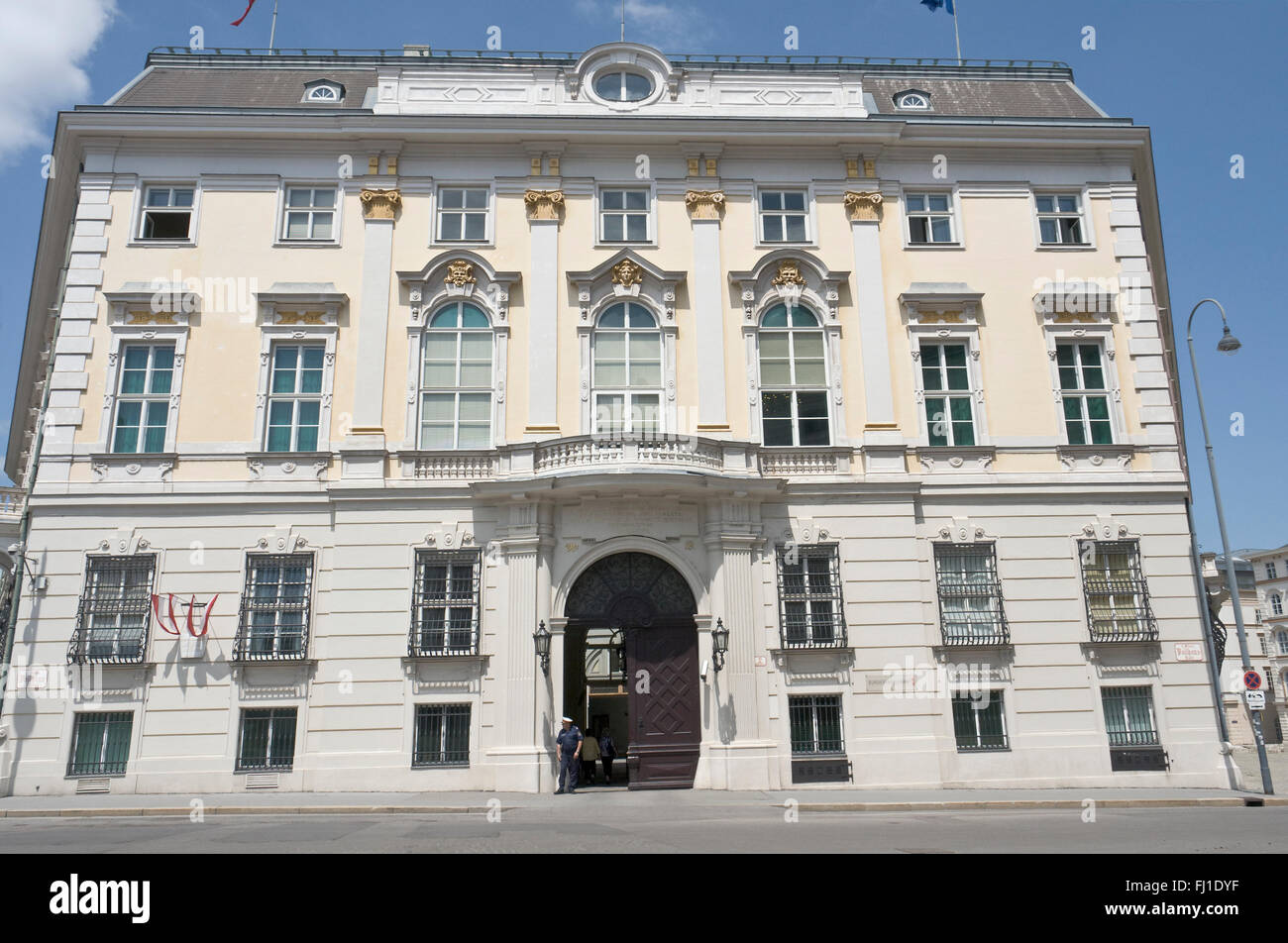 Austria, Vienna, Ballhausplatz, main façade of the Bundeskanzleramt, seat of the Austrian Federal Government. Stock Photo