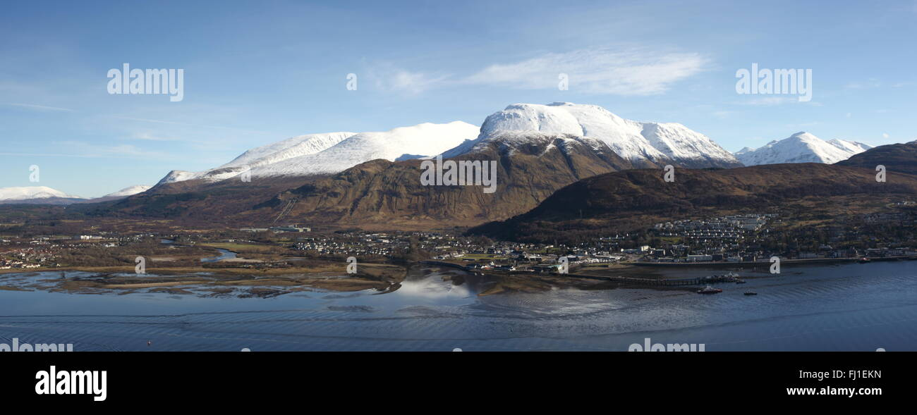 Ben Nevis, Loch Linnhe and Fort William. Stock Photo