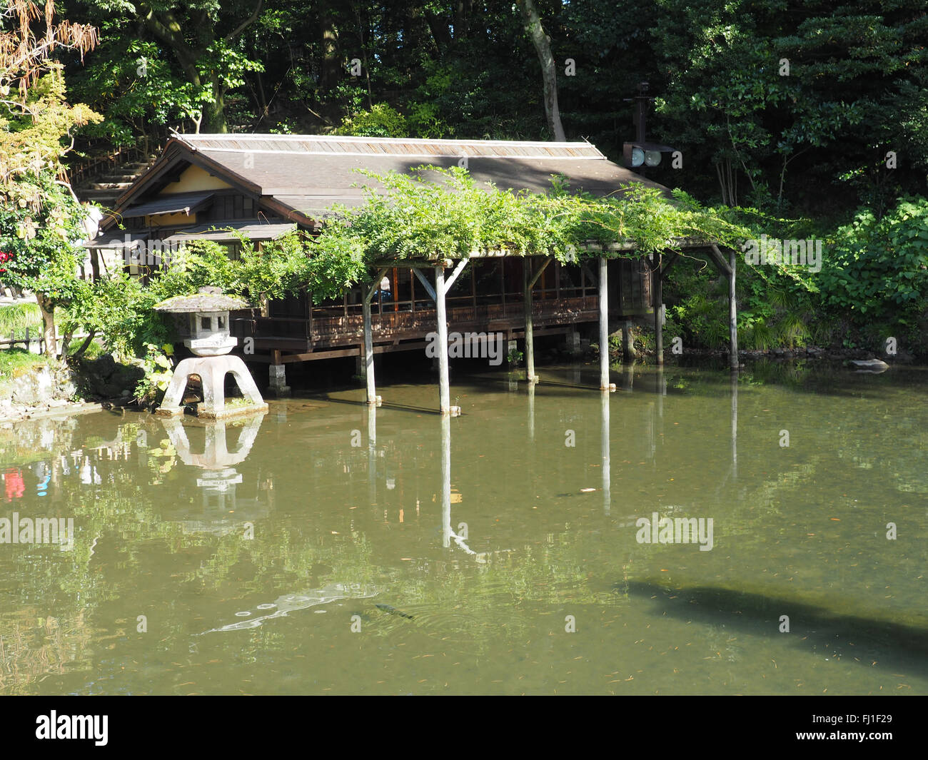 Kenroku-en garden thee house - Stock Image