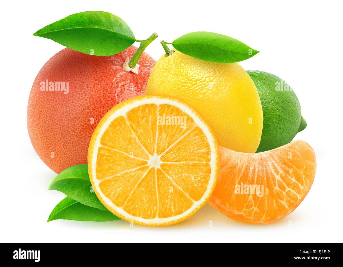Various citrus fruits isolated on white with clipping path - Stock Image