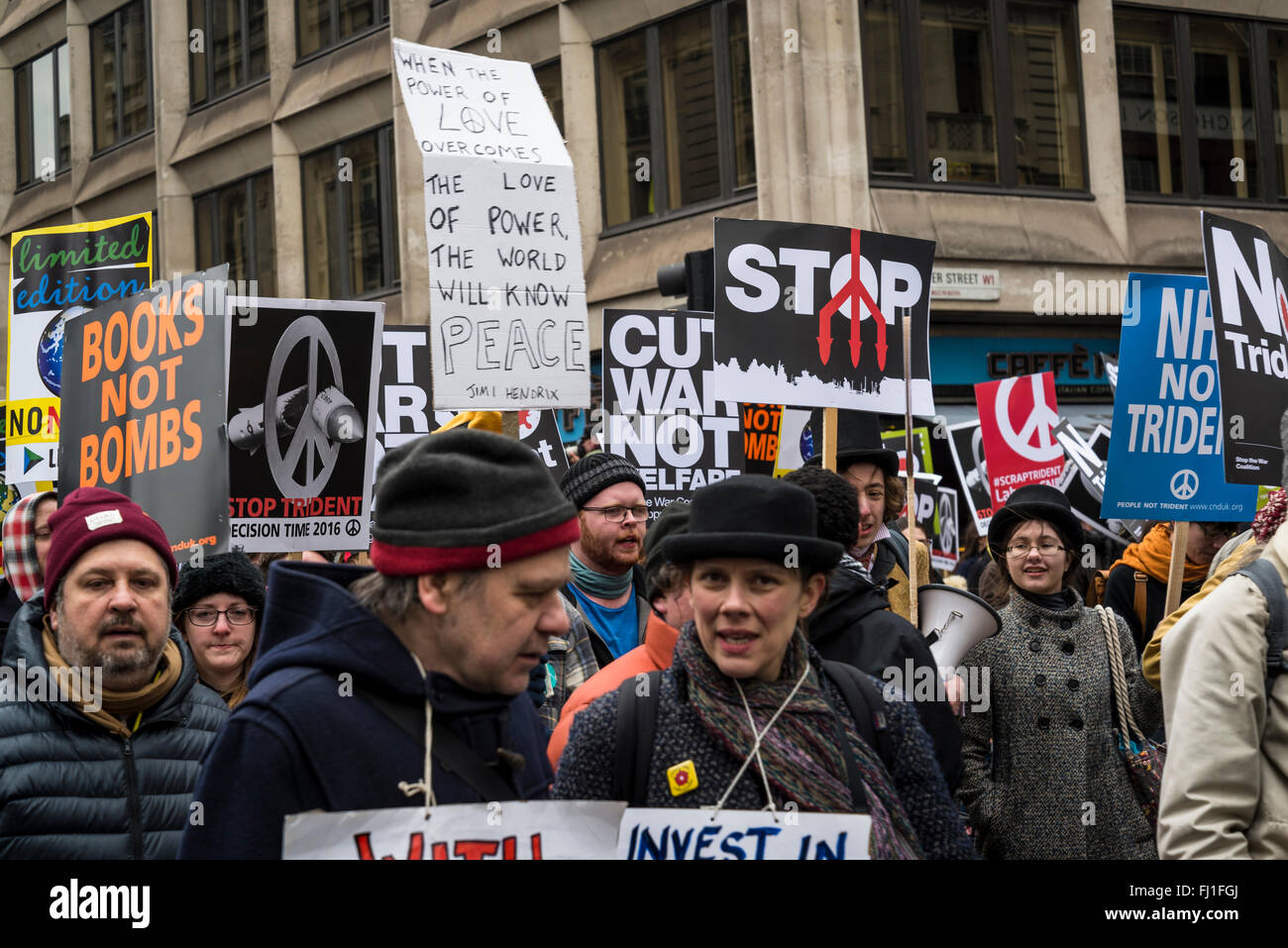 London, UK. 27th Feb, 2016. Stop Trident Demonstration, organized by Campaign for Nuclear Disarmament, London, England, - Stock Image