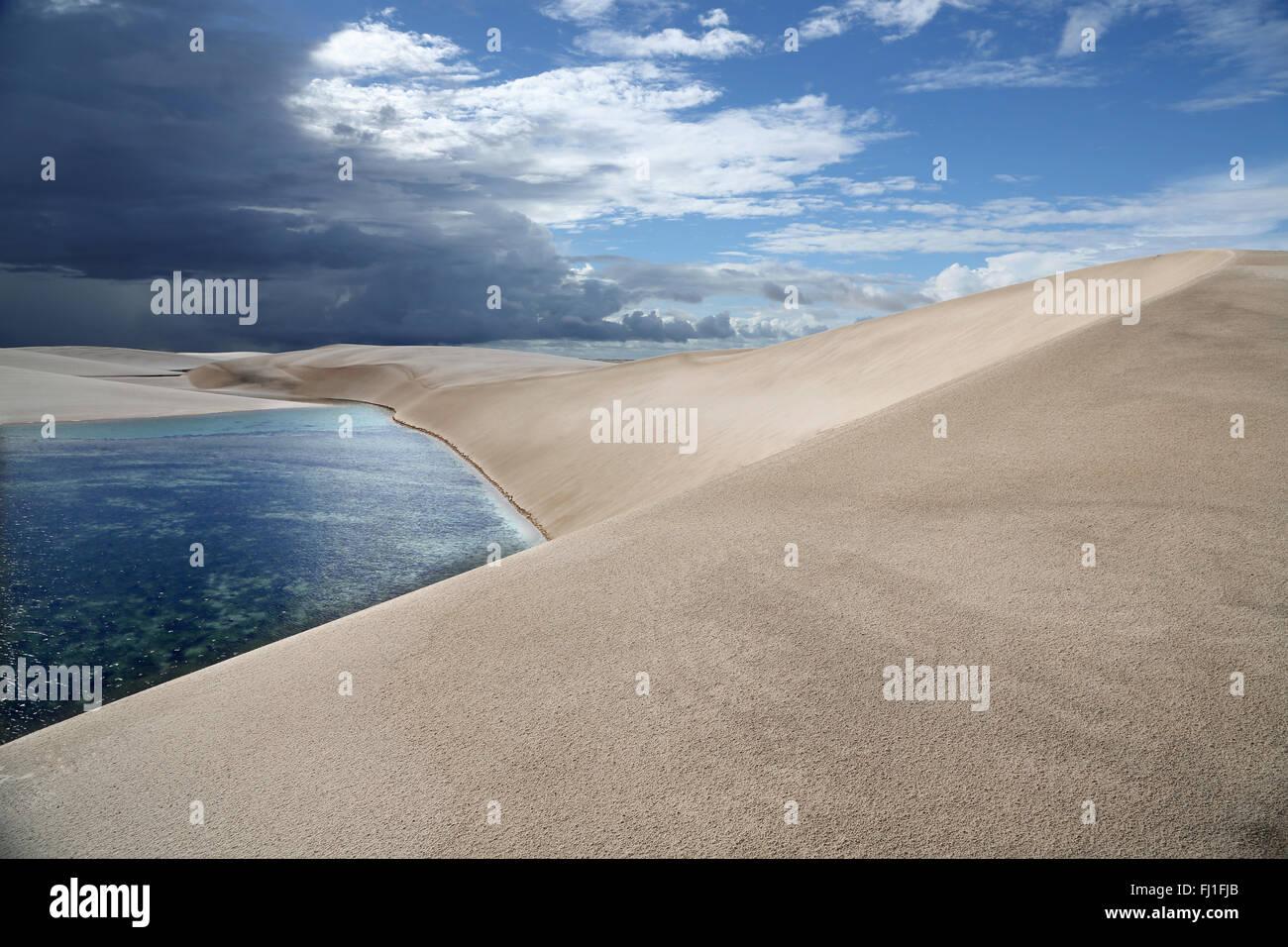 Sand dune and landscape of Lençois Maranhenses, Barreirinhas  , Maranhão , Brazil - Stock Image