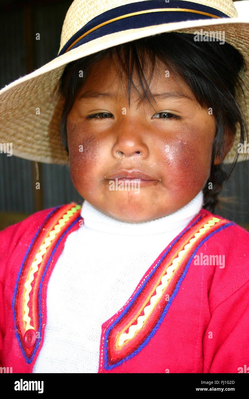 Portrait of Peruvian girl in Sillustani , Peru - Stock Image