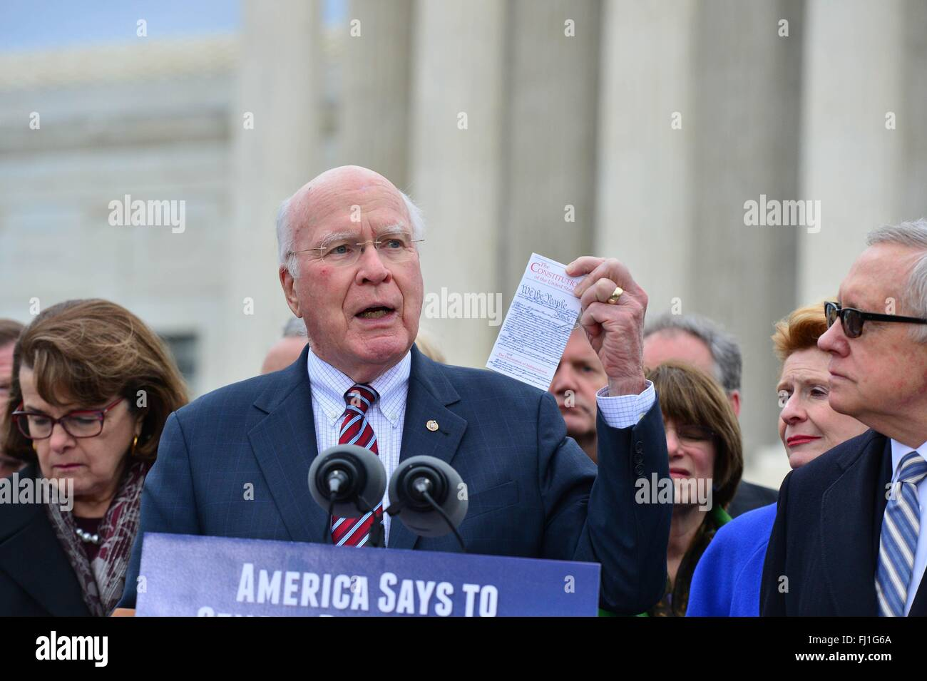 U.S. Senator Patrick Leahy, the ranking member of the Senate Judiciary Committee, and other Democrats call on Republicans - Stock Image