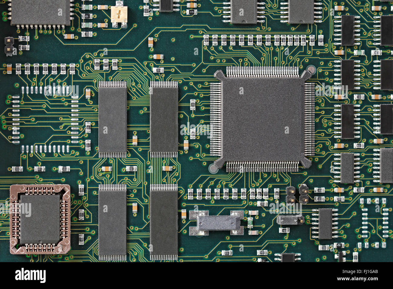 green circuit board with microprocessor and other electronic stock rh alamy com  Circuit Board with Binary